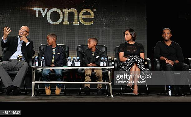 Director Rusty Cundieff actors Amir O'Neal Amari O'Neill Sharon Leal and Larenz Tate speak onstage during the 'White Water' panel at the TV One...