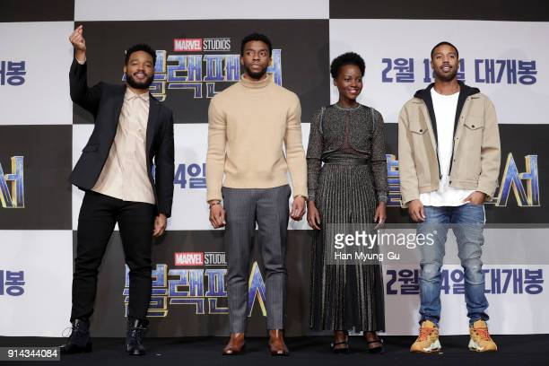 Director Ryan Coogler Actor Chadwick Boseman Lupita Nyong and Michael B Jordan attend the press conference for the Seoul premiere of 'Black Panther'...