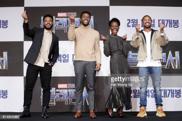 Director Ryan Coogler Actor Chadwick Boseman Lupita Nyong's and Michael B Jordan attend the press conference for the Seoul premiere of 'Black...
