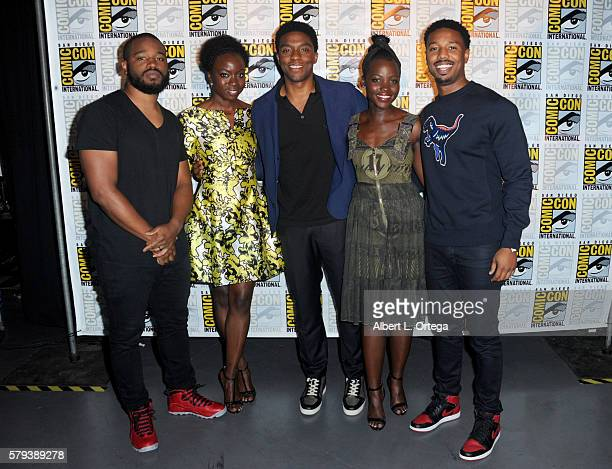Director Ryan Coogler, actors Danai Gurira, Chadwick Boseman, Lupita Nyong'o, and Michael B. Jordan attend the Marvel Studios presentation during...