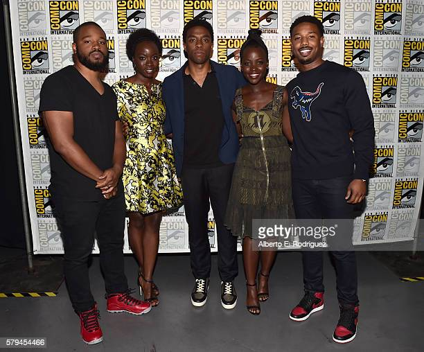 "Director Ryan Coogler actors Danai Gurira Chadwick Boseman Lupita Nyong'o and Michael B Jordan from Marvel Studios' 'Black Panther"" attend the San..."
