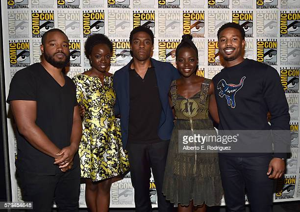"Director Ryan Coogler actors Danai Gurira Chadwick Boseman Lupita Nyong'o and Michael B Jordan from Marvel Studios' 'Black Panther"" attend the San..."