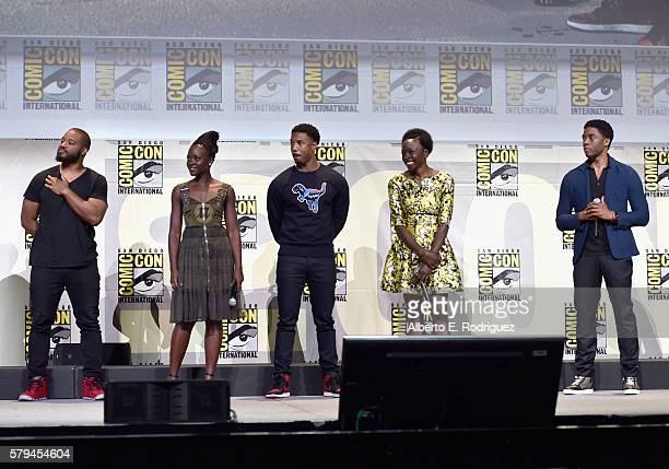 "Director Ryan Coogler, actors Lupita Nyong'o, Michael B. Jordan, Danai Gurira and Chadwick Boseman from Marvel Studios' ""Black Panther"" attend the..."