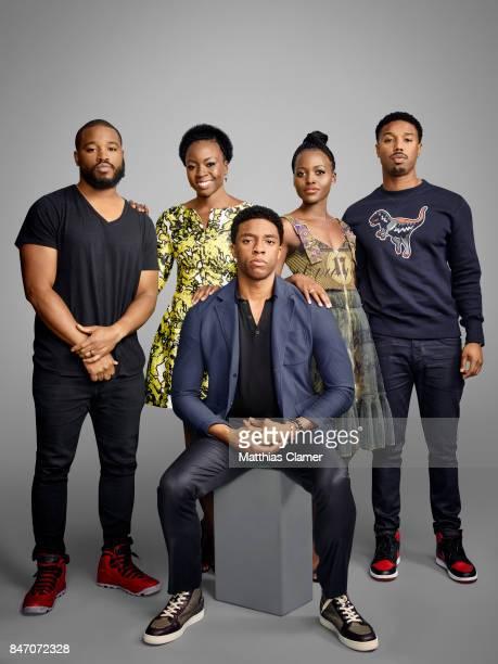 Director Ryan Coogler and actors Chadwick Boseman Danai Gurira Lupita Nyong'o and Michael B Jordan from 'Black Panther' are photographed for...