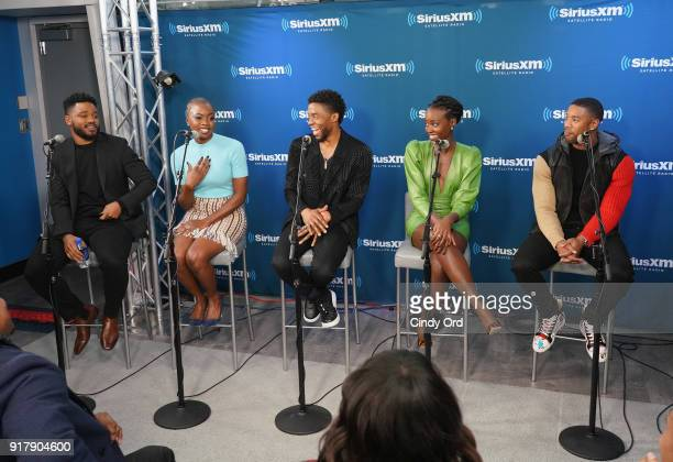 Director Ryan Coogler and actors Danai Gurira Chadwick Boseman Lupita Nyong'o and Michael B Jordan take part in SiriusXM's Town Hall with the cast of...
