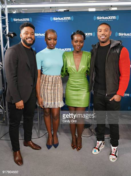 Director Ryan Coogler and actors Danai Gurira Lupita Nyong'o and Michael B Jordan take part in SiriusXM's Town Hall with the cast of Black Panther...