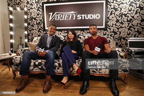 Director Ryan Coogler and actors Melonie Diaz and Michael B Jordan attend the Variety Studio at Chivas House on May 18 2013 in Cannes France