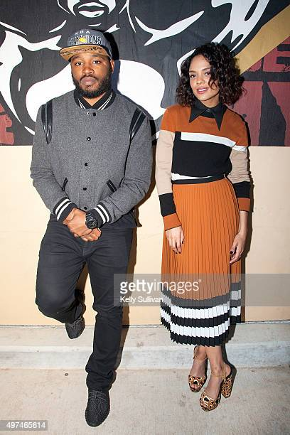 Director Ryan Coogler and actress Tessa Thompson pose in front of a mural for their upcoming movie 'Creed' at Leadership High School on November 16...