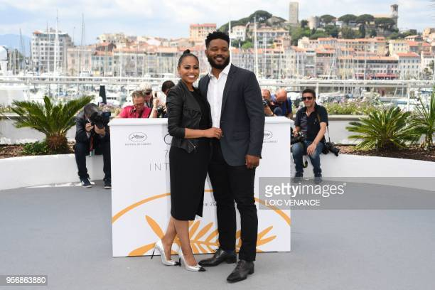 Director Ryan Coogler and his wife Zinzi Evans pose on May 10, 2018 during a photocall at the 71st edition of the Cannes Film Festival in Cannes,...