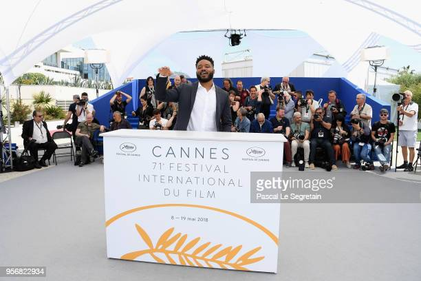 Director Ryan Coogler raises his hand as he attends the photocall for Rendezvous with Ryan Coogler during the 71st annual Cannes Film Festival at...