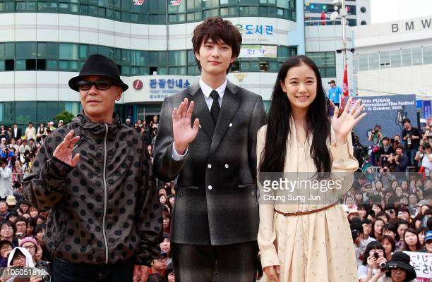 Director Ryuichi Hiroki actor Masaki Okada and actress Yu Aoi attend during a Audience Meet and Greet of the 15th Pusan International Film Festival...