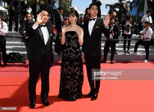 Director Ryusuke Hamaguchi actress Erika Karata and actor Masahiro Higashide attend the screening of Asako I II during the 71st annual Cannes Film...