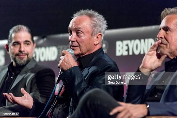 Director S Craig Zahler and Actors Udo Kier and Don Johnson attend the panel discussion following the Premiere Of RLJE Films' 'Brawl In Cell Block...