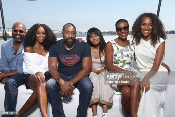 Director Salim Akil actors Nafessa Williams Cress Williams China Anne McClain Christine Adams and Mara Brock Akil on the #IMDboat at San Diego...