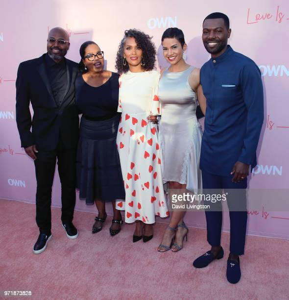 Director Salim Akil actress Oprah Winfrey writer Mara Brock Akil and actors Michele Weaver and William Catlett attend the premiere of OWN's Love Is_...