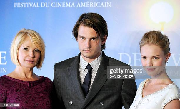 US director Sam Levinson flanked by actresses Ellen Barkin and Kate Bosworth attends a photocall for his movie Another happy day during the 37th US...