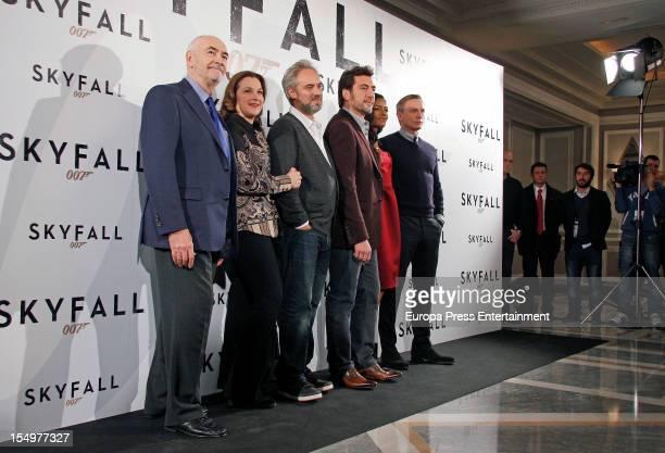 Director Sam Mendes , actor Javier Bardem , actress Naomie Harris and actor Daniel Craig attends 'Skyfall' photocall at Villamagna Hotel on October...