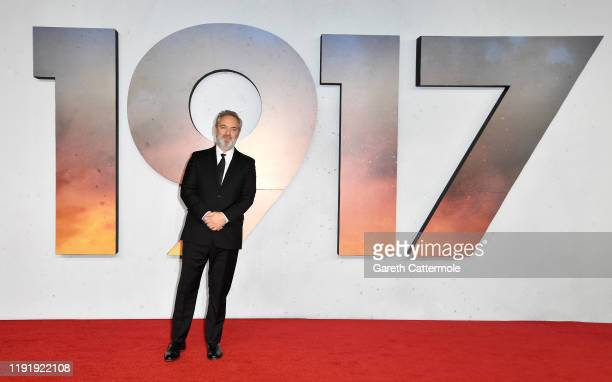 """Director Sam Mendes attends the """"1917"""" World Premiere and Royal Performance at the Odeon Luxe Leicester Square on December 04, 2019 in London,..."""
