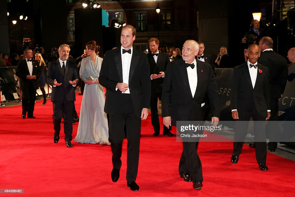 Director Sam Mendes, Catherine, Duchess of Cambridge, Prince William, Duke of Cambridge, Prince Harry and producer Michael G. Wilson attend The Cinema and Television Benevolent Fund's Royal Film Performance 2015 of the 24th James Bond Adventure, 'Spectre' at Royal Albert Hall on October 26, 2015 in London, England.