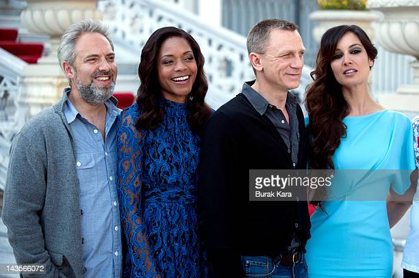 Director Sam Mendes Naomie Harris Daniel Craig and Berenice Marlohe attend a photocall with cast and filmmakers to mark the filming of the 23rd Bond...