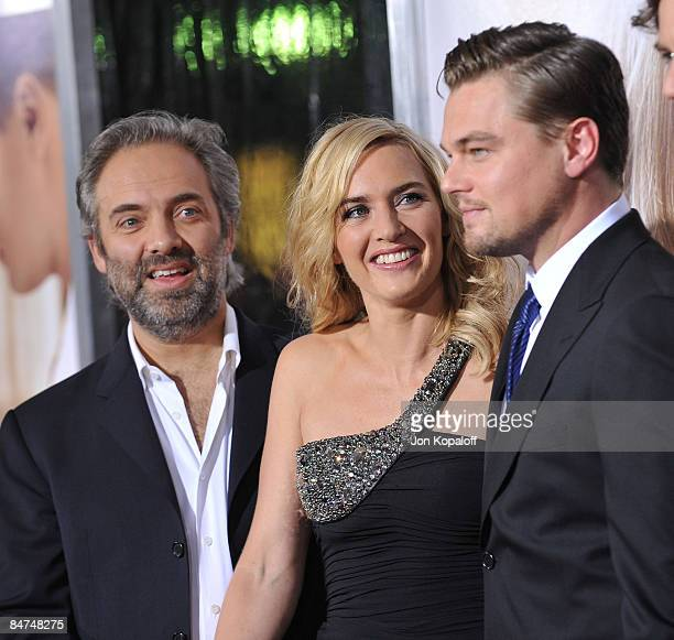 Director Sam Mendes wife actress Kate Winslet and actor Leonardo DiCaprio arrive at the Los Angeles Premiere 'Revolutionary Road' at the Mann Village...