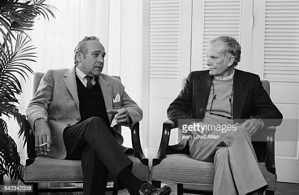 Director Sam Peckinpah chats with author Robert Ludlum in New York