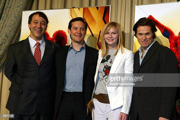 Director Sam Raimi actor Tobey Maguire actress Kirsten Dunst and actor Willem Dafoe meets Japanese journalists at a press conference while promoting...