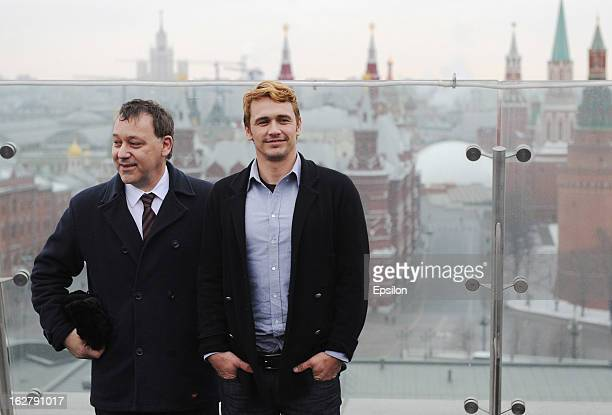 Director Sam Raimi and actor James Franco pose during a photocall before Walt Disney Pictures Moscow premiere of 'Oz The Great And Powerful' at the...