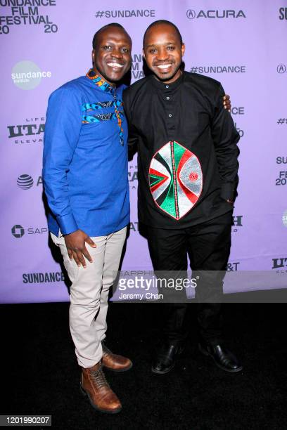 Director Sam Soko and film subject Boniface Mwangi attend the 2020 Sundance Film Festival Softie Premiere at Park Avenue Screening Room on January 25...
