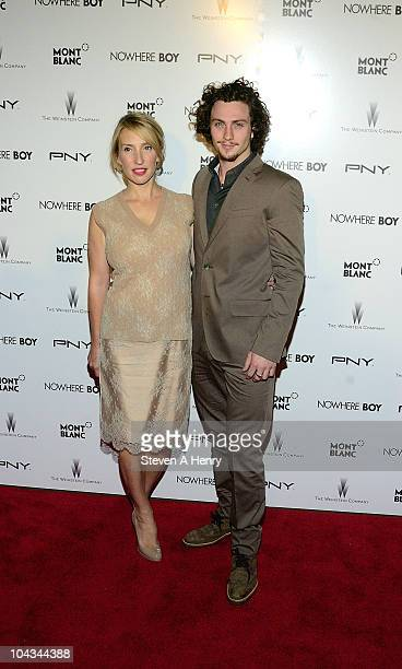 """Director Sam Taylor Wood and actor Aaron Johnson attend the """"Nowhere Boy"""" premiere at the Tribeca Performing Arts Center on September 21, 2010 in New..."""