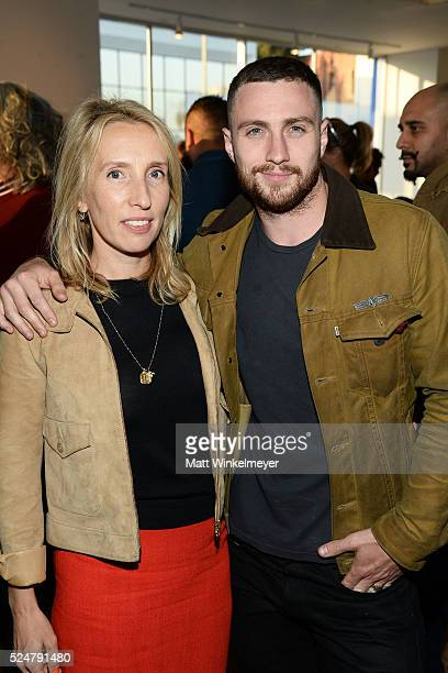 Director Sam TaylorJohnson and actor Aaron TaylorJohnson attend the Opening Reception for Michael Muller's book 'Shark' hosted by TASCHEN at TASCHEN...