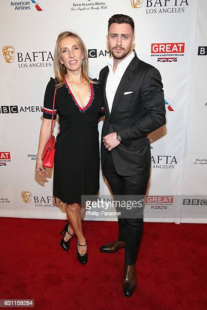 Director Sam TaylorJohnson and actor Aaron TaylorJohnson attend The BAFTA Tea Party at Four Seasons Hotel Los Angeles at Beverly Hills on January 7...