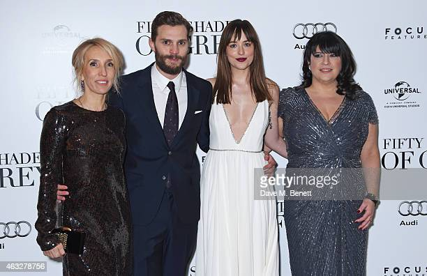 Director Sam TaylorJohnson Jamie Dornan Dakota Johnson and EL James attend the UK Premiere of Fifty Shades Of Grey at Odeon Leicester Square on...
