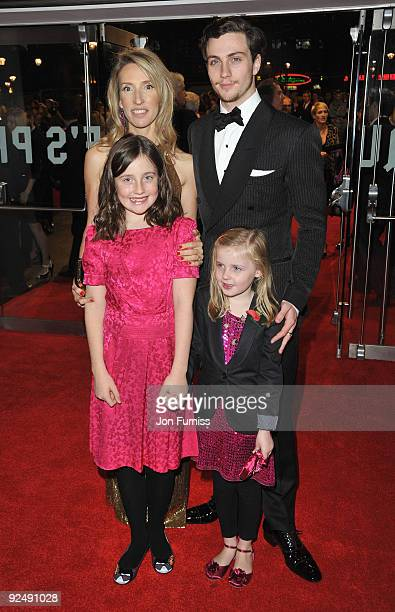 Director Sam TaylorWood actor Aaron Johnson Abby Greenheart and Angelica Jopling attend the Closing Gala premiere of Nowhere Boy during the The Times...
