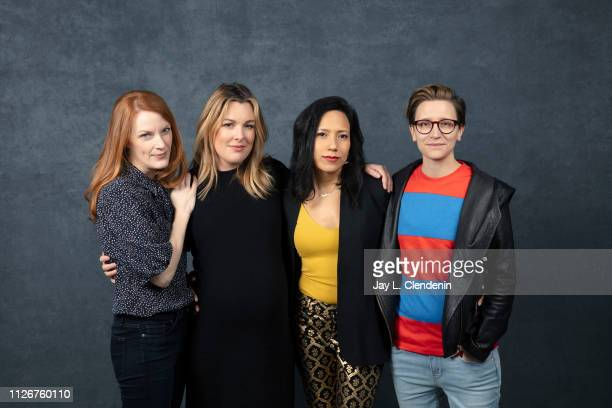 Director Samantha Buck actresses Anna Margaret Hollyman Andrea SuarezPaz and director Marie Schlingmann from 'Sister Aimee' are photographed for Los...