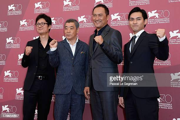 Director Sang Il Lee and actors Akira Emoto Ken Watanabe and Yuya Yagira attends 'Unforgiven' Photocall during the 70th Venice International Film...