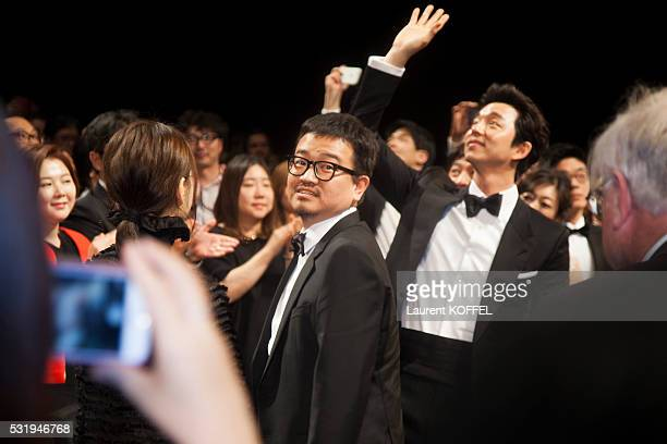 Director Sangho Yeon actor Gong Yoo and guests attend the 'Train To Busan ' premiere during the 69th annual Cannes Film Festival in the Palais des...