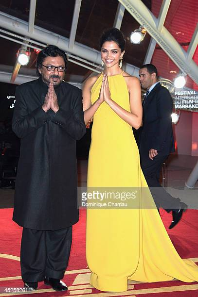 Director Sanjay Leela Bhansli and Deepika Padukone arrive at the opening ceremony of the 13th Marrakesh International Film Festival on November 29...