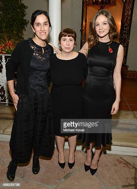 Director Sarah Gavron writer Abi Morgan and actress Carey Mulligan attend the Focus Features reception for 'Suffragette' hosted by the British...