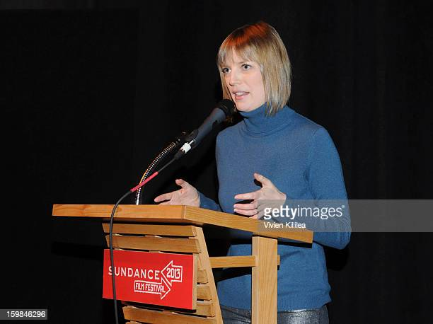 Director Sarah Polley speaks at 'Stories We Tell' Premiere during the 2013 Sundance Film Festival at The Marc Theatre on January 21 2013 in Park City...