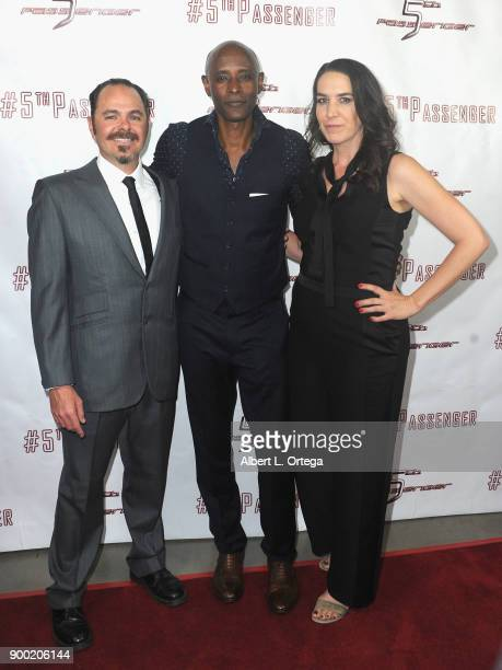 Director Scott Baker actor Brian Keith Gamble actress Morgan Lariah arrive for the Cast And Crew Screening Of 5th Passenger held at TCL Chinese 6...