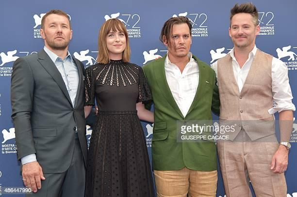 US director Scott Cooper US actor Johnny Depp US actress Dakota Johnson and Australian actor Joel Edgerton pose during the photocall of the movie...