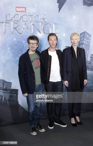 Director Scott Derrickson and actors Tilda Swinton and Benedict Cumberbatch stand during a photocall for the film 'Doctor Strange' in Berlin Germany...