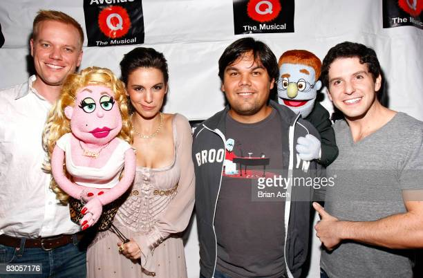 Director Scott Moore actress Christy Carlson Romano writer Bobby Lopez and actor Howie Michael Smith celebrates her debut in Avenue Q on Broadway at...