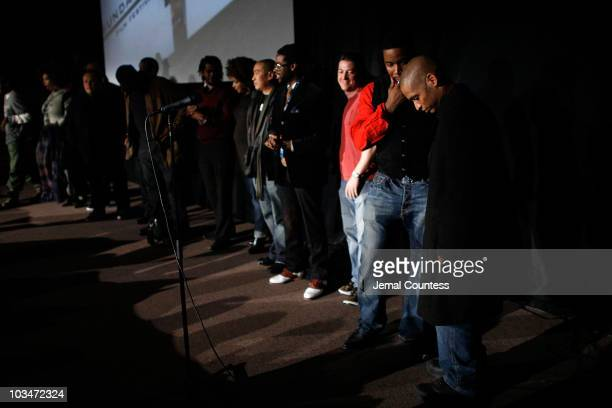 Director Scott Sanders prepares to speak at the premiere of Black Dynamite during the 2009 Sundance Film Festival at Library Center Theatre on...