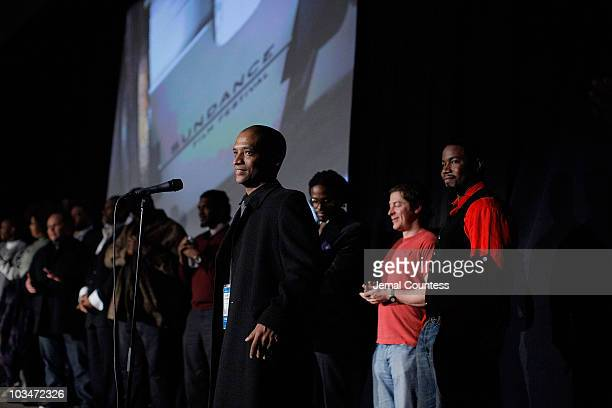 Director Scott Sanders speaks on stage at the premiere of Black Dynamite during the 2009 Sundance Film Festival at Library Center Theatre on January...