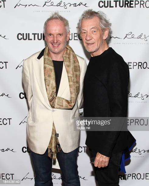 Director Sean Mathias and actor Sir Ian McKellan attend The Culture Project's The Seagull opening night party at B Bar and Grill on October 13 2013...