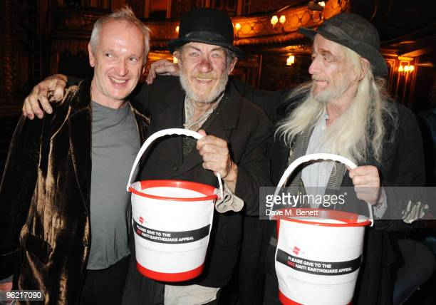 Director Sean Mathias and actors Sir Ian McKellen and Ronald Pickup collect money in aid of Haiti following the cast change of 'Waiting For Godot' at...