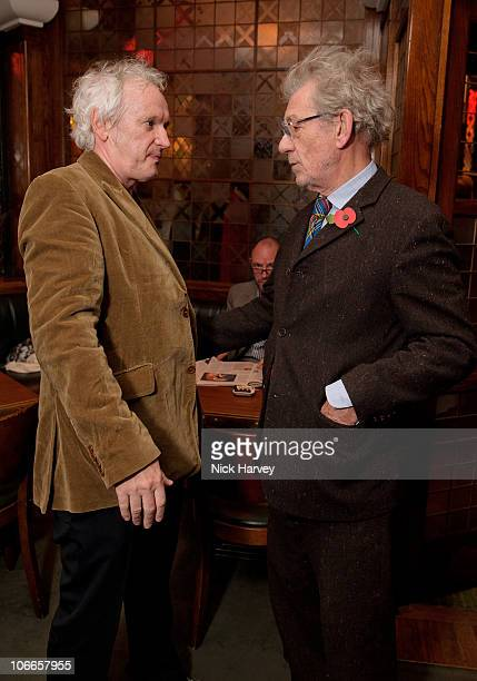 Director Sean Mathias and Sir Ian McKellen attend the 20th anniversary of the famous restaurant at The Ivy on November 9 2010 in London England