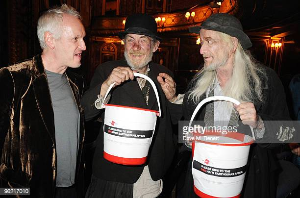 Director Sean Mathias with actors Sir Ian McKellen and Ronald Pickup collect money in aid of Haiti following the cast change of 'Waiting For Godot'...